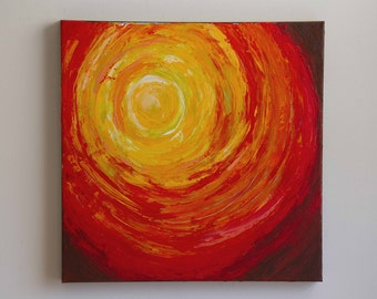 Textured painting, Abstract painting, Circle painting, Red art, Yellow art, Square art, 18x18 canvas painting