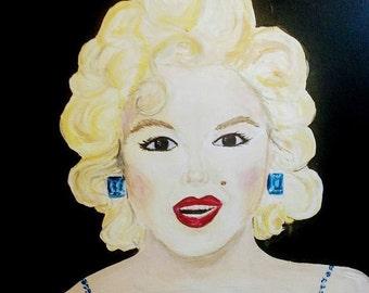 Marilyn Monroe acrylic painting original bling, pop art, saphire earrings