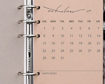 Filofax Calendar Inserts - PERSONAL / Kikki K Medium 2017 / 2018 Monthly Cover Pages PRINTED on 'buff' OR 'eco grey' recycled Kraft paper