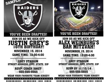 Printable Birthday Party Invitation Card Oakland Raiders Birthday Ticket Invitation Football Weddings Baby Showers Bar Mitzvahs