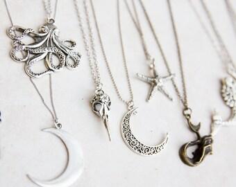 Large Boho Charm Necklace, Mermaid Necklace, Wold Charm Necklace, Starfish Necklace, Octopus Steampunk Necklace, Bird skull Necklace, Fawn