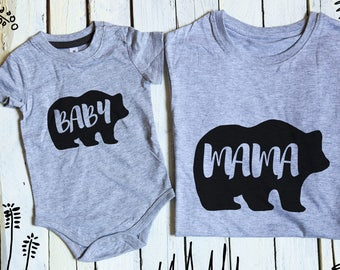 Mama Bear Baby Bear, Mommy and Me, Mama Baby Bear, Bears Family Set, Bear Matching Set, Mother's day gift, Baby Bear Onesie, Mama Bear Shirt