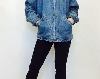 Vintage denim coat denim chore coat  long denim coat lined denim coat small denim coat 90s jean coat S jean jacket coat small womens chore