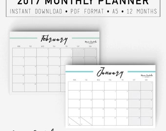 Printable Monthly Planner 2017, Printable A5 Planner, 2017 Agenda, PDF Instant download
