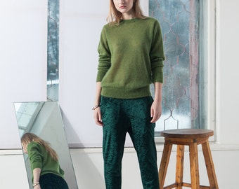 Green sweater  Green mohair pullover  Mohair sweater  Mohair pullover  Loose mohair sweater  Loose fit pullover  Greenery  ADELE GREEN