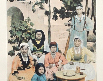 Arab women, Algeria, original 1895 print - Ethnic, Muslim, folk, traditional dress - 120 years old antique photographic illustration (C222)