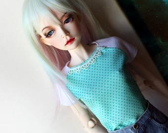 1/3 SD bjd clothes girl reglan t-shirt / cute kawaii mint green dotted fabric plus lace decor