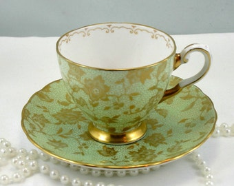 Very Elegant, Small Coalport Teacup & Saucer, Crisp Green Gilded Pattern, Gold Rims,Bone English China made in 1970s.