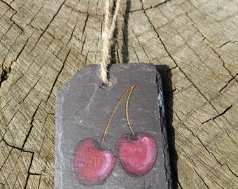Black Cherries - Handpainted Reclaimed Slate Wall Hanging