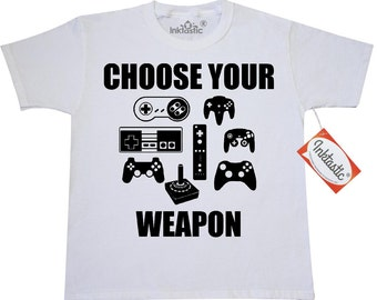 Choose Your Weapon with Game Controllers Youth T-Shirt by Inktastic
