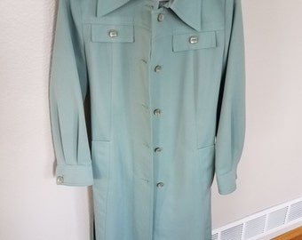Vintage Forecaster Women's Seafoam Blue Green Belted Trench Coat Size 7/8 Free Shipping