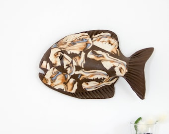 3D Wall Art decor Ceramic fish sculpture | Fish sculpture | Bathroom Living Room Kitchen Home Decor | Wall sculpture | Wall Art sculpture