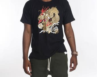 Vintage Gold Japanese Dragon Tshirt