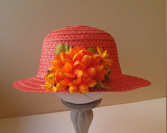 Red Hat, Red Tea Party Hat, Sun Hat, Tea Party Hat, Fall Harvest Hat, Fall Hat, Harvest Hat, Bonnet