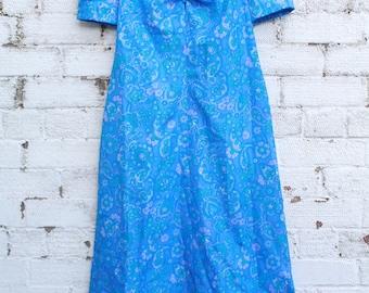 Vintage bright blue psychedelic retro hippy floral flower 70s boho gypsy maxi dress S M