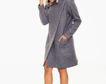 Winter Wool Coat, Coat Jacket, Wool Poncho Jacket, Blazer Coat, Winter Outerwear, Fashion Coat, Classic Jacket, Retro Coat, Gray Coat