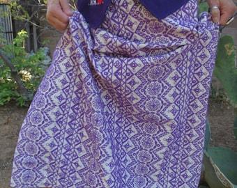 Hand Embroidered Organic Cotton Maxi Skirt Hippie Folk Boho Maxi Skirt Size M