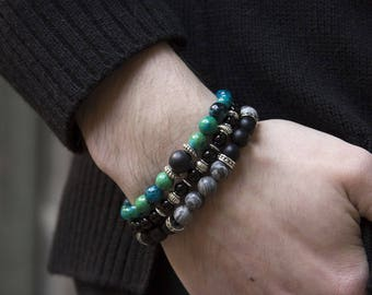 Bohemian Jewelry Azurite Black 3in1 Gemstone Girlfriend Gift Womens Bracelet Mens Bracelet Gift for Her Gift for Him