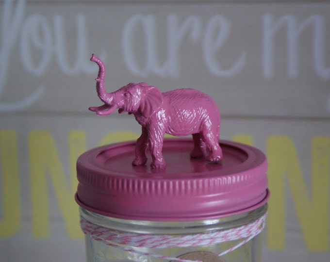 Hand Painted Pink Animal Lid Mason Jar // Home Decor // Kid's Room Decor // Unique Gifts // Funky Gift Idea // Fun Storage Jars // Gift Idea