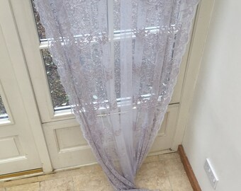 FERN Beautiful silver grey sheer lace curtain panel from Scandinavia with velvet ties and scalloped edges (also available in ivory cream).