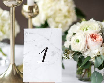 Instant Download Wedding Table Number Cards - Modern Chic Marble Wedding Table Numbers Printable - PDF Number 1 to 20 - (Item code: P456)