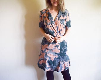 Vintage 60s Dress, Coral Shirt Dress, Green and Pink Cotton Summer Dress