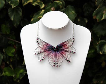 Gothic Autumn Sunset- Gossamer Fairy/Faerie Butterfly Cicada Wing Statement Necklace/Collar