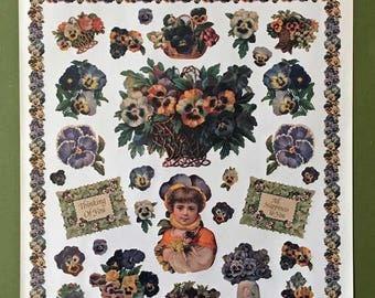 Victorian Pansy Flowers Sticker Sheet