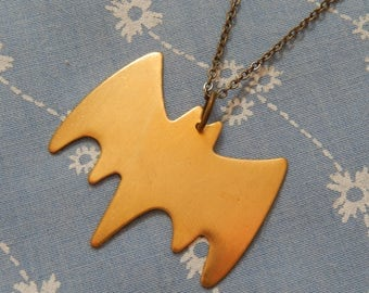 Antique Brass Batman Symbol Pendant Necklace