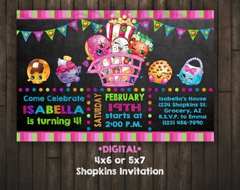Shopkins Invitation, Shopkins Birthday, Shopkins, DIGITAL