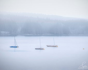 Boat print, panoramic, minimalist photography, boat photography, blue, fine art photography, framed art, extra large, calm, serene, water