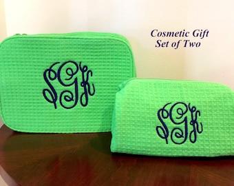 Monogrammed Cosmetic Cases - Monogram Make Up Bag Set - Personalized Bridesmaids Makeup Bags - Monogrammed Make Up Bags - Two Cosmetic Bags