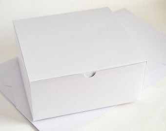 White Gift Boxes, 10 Bridesmaid Gift Boxes, White Boxes, Wedding Gift Boxes, Wedding Favor Boxes, Paper Boxes 8x8x3.5""