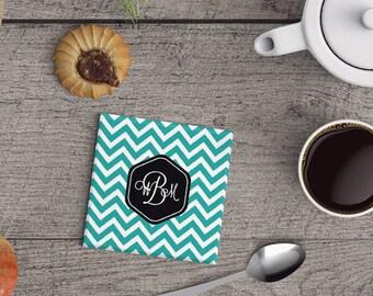 Monogram Ceramic Coaster Gift Set,  Personalized Coaster Wedding Gift Housewarming Drink Coasters Chevron