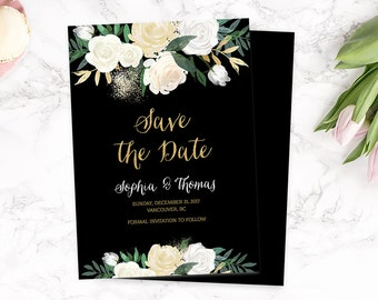 Black Gold Save the Date Card, Floral Save the Date Invitation, Printable Save the Date Template, Elegant Save the Date Cards