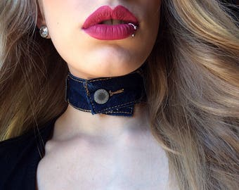Blue jean necklace, upcycled jewelry, denim choker, blue denim necklace, distressed denim choker, teen girls choker, celebrity chokers