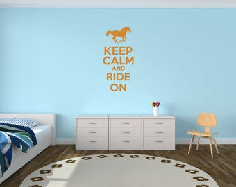Keep Calm And Ride On Horse Riding Equestrian Wall Decal Custom Made Customize Size Color and more  Custom Wall Decals