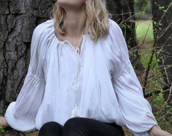 BOHEMIAN SMOCK TOP, Peasant style cotton gauze white gathered blouse, boho top