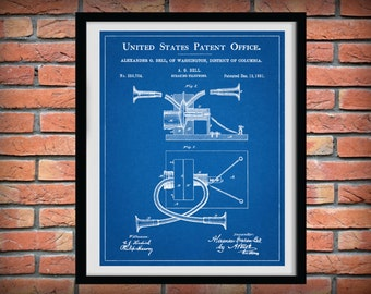 Patent 1881 Telephone - Alexander Graham Bell Invention - Speaking Telephone - Art Print - Poster - Wall Art -