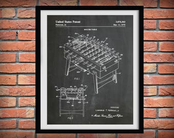 1975 Foosball Table Patent Print - Soccer Table Patent Print - Art Print - Poster Print - Game Room Wall Art - Home Decor -