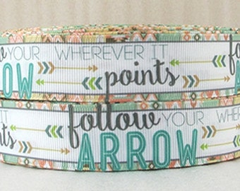 "1"" inch Arrow Romantic Design on White - Printed Grosgrain Ribbon for Hair Bow"
