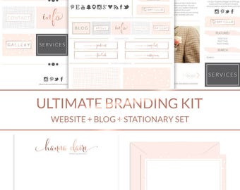 Ultimate Watercolor Logo + Branding Kit + Blog Kit 62 piece // Rose Gold Boutique Website Design Kit // Business Stationery