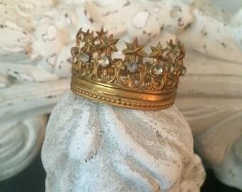 Old French Star & Paste Stone Crown / Santos Crown / Gold Filigree Crown / Display Crown / Statue Crown / Jeweled Rhinestone Crown