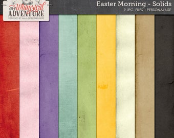Easter printable digital scrapbooking papers 12x12, digital download, distressed solid papers, easter bunny, cardstock, textures, spring