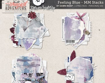 Digital art journaling, digital download, digital scrapbooking elements, stacked, mixed media, clusters, torn paper, paint, blue, purple