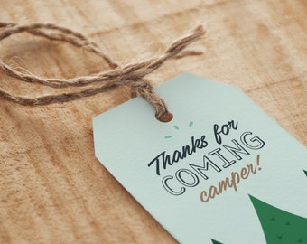 Camping Birthday Party Favor Tag