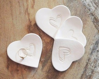 CLAY RING DISH party favor, bridesmaid gift, bridal shower favor, bachelorette party favor, You Pick Custom Color ceramic heart ring plate