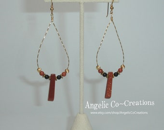 Goldstone Teardrop Dangle Earrings