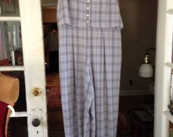 80's light blue/black/white plaid rayon blend jumpsuit