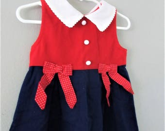 Vintage Red White and Blue Baby Girl Dress / Sleeveless Sundress Patriotic American Girl Toddler Size 2T